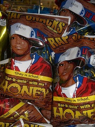 Potato chip packages featuring hip hop-design images (showing Lil Romeo and based on the film Honey)