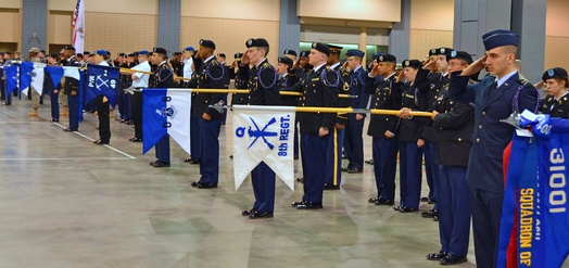 Pershing Riflemen in formation before the John J. Pershing Memorial Drill Competition during NATCON 2014 held in Richmond, Virginia.