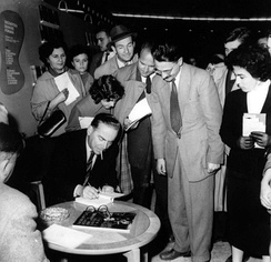 Andrić signing books at the Belgrade Book Fair