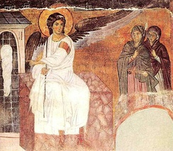 The White Angel (1235) fresco from Mileševa monastery; sent as a message in the first satellite broadcast signal from Europe to America, as a symbol of peace and civilisation[365]