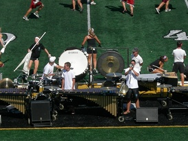 "The Bluecoats Drum and Bugle Corps' pit for their 2007 performance, ""Criminal"""