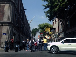 Filming of the Mexico City scenes, revolving around a Day of the Dead parade.