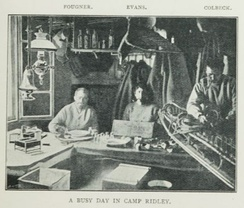 Scene from a hut at Camp Ridley, with Fougner, Evan, and Colbeck.