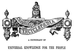 The design and wording that appeared at the start of each volume of the Chambers's Encyclopaedia.