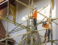 Bamboo scaffolding can reach great heights