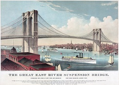 "Chromolithograph of the ""Great East River Suspension Bridge"", (Brooklyn Bridge), by Currier and Ives, 1883."