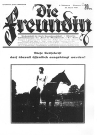 Reproduction of a German magazine cover with the title Die Freundin showing a nude woman sitting on a horse, looking behind her