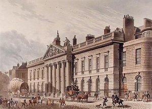 The expanded East India House, Leadenhall Street, London, as rebuilt 1799–1800, Richard Jupp, architect (as seen c. 1817; demolished in 1929)