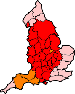 "The historic counties of England — red indicates ""-shire"" counties, orange indicates where the ""-shire"" suffix is occasionally used"