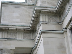 Part of the entablature on the museum's facade, depicting war scenes on its frieze.