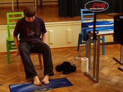 Anssi Vanhala solving a 3×3×3 Rubik's Cube with his feet in 36.72 seconds, at the 2009 Estonian Open.