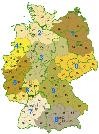 German Postleitzahl map of the first two digits. The green lines mark state borders, which do not always correspond with postal code areas.