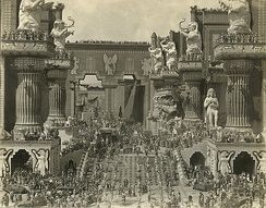 Scene still of Belshazzar's feast in the central courtyard of Babylon from D. W. Griffith's 1916 silent film Intolerance.