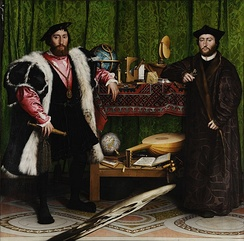 "Hans Holbein the Younger - The Ambassadors, 1533 (National Gallery, London), with a ""large pattern Holbein"" carpet"