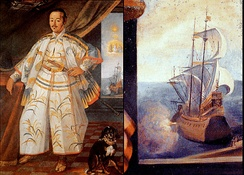 The San Juan Bautista is represented in Claude Deruet's painting of Hasekura Tsunenaga in Rome in 1617, as a galleon with Hasekura's flag (red manji on orange background) on the top mast.