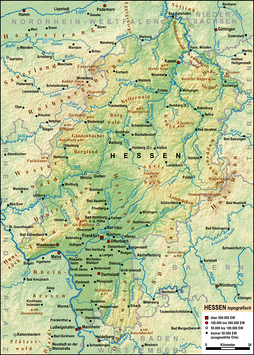 The most important rivers, mountains, and cities of Hesse