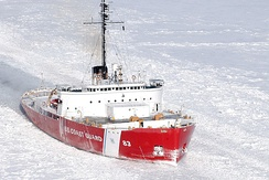 The USCGC Mackinaw (WAGB-83) on icebreaking duties in The Straits of Mackinaw