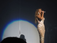 "Beyoncé performing ""Listen"" and ""At Last"" during her I Am... World Tour wearing a long gown."