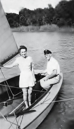 James Bowen and his wife Julia, sailing on White Rock Lake in the summer of 1940. Mr. Bowen was an avid member of the Corinthian Sailing Club in the late 1930s and early 1940s. He designed and built several fast and beautiful sailboats in the garage of his home located on Ross Avenue in Dallas TX. He built the boats specifically for club sponsored racing events on White Rock Lake.