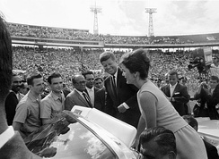 President John F. Kennedy and First Lady Jacqueline Kennedy greeting 2506 Brigade members, 1962.