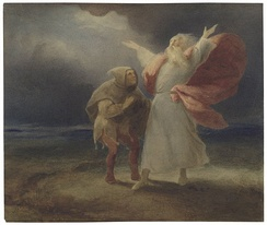 A watercolour of King Lear and the Fool in the storm from Act III, Scene ii of King Lear