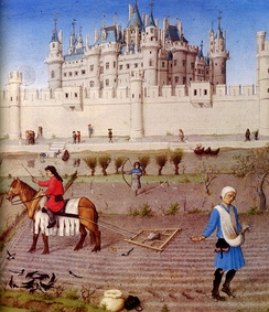The peasants preparing the fields for the winter with a harrow and sowing for the winter grain. The background contains the Louvre castle, c. 1410