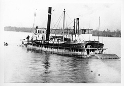 Lurline sunk off Rainier, Oregon, with sternwheeler Nestor alongside.