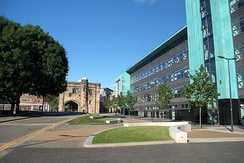 Magazine Square, with the Hugh Aston Building and the medieval Magazine Gateway