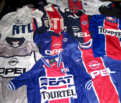 Sponsored shirts, such as these worn in various seasons by Paris St Germain, became the norm in the modern era.