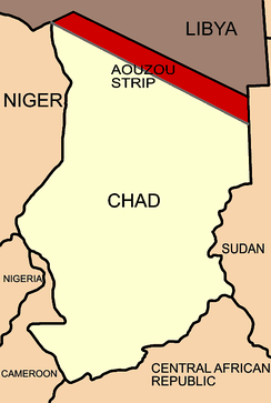Simplified map showing the Aozou Strip between Chad and Libya, when given to Italian Libya in 1935