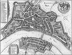 Map of Basel in 1642, engraved by Matthäus Merian, oriented with SW at the top and NE at the bottom.