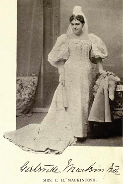 Gertrude Mackintosh by William James Topley in a costume she wore in February 1896 at a Fancy Dress Ball given at Ottawa by the Earl and Countess of Aberdeen