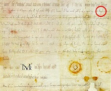 "The first document containing the word ""Ostarrîchi"", the word is marked with a red circle."