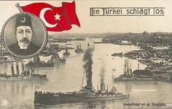 A German postcard depicting the Ottoman Navy at the Golden Horn in the early stages of World War I. At top left is a portrait of Sultan Mehmed V.