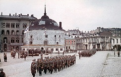 A Finnish military parade next to the Round Tower in Viipuri (now Vyborg, Russia) on 31 August 1941, celebrating its recapture