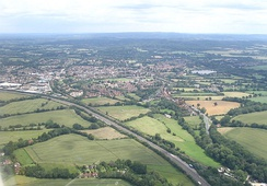 Aerial view from SW with the A3 in the foreground