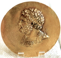 Niketerion (victory medallion) bearing the effigy of king Philip II of Macedon, 3rd century AD, probably minted during the reign of Roman Emperor Alexander Severus