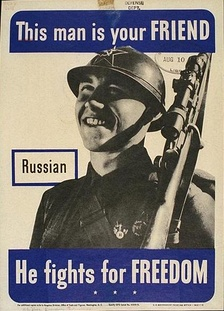 US Government poster showing a friendly Russian soldier as portrayed by the Allies during World War II.