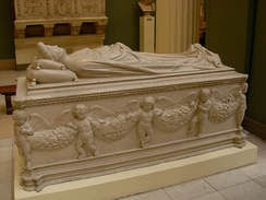 Tomb and monument of Ilaria del Carretto by Jacopo della Quercia, c. 1413 (plaster cast in Moscow)