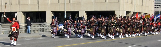 A military Remembrance Day parade in Ottawa, Ontario.