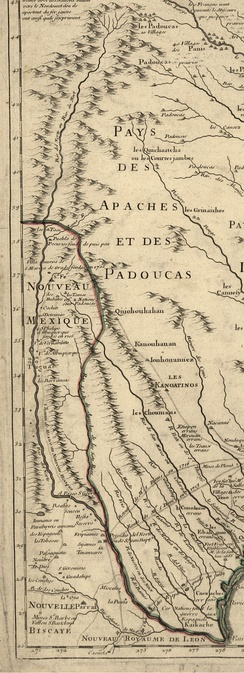 The Rio Grande (Rio del Norte) as mapped in 1718 by Guillaume de L'Isle