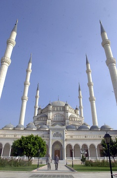 Sabancı Merkez Camii, Adana, built in 1998, is the largest mosque in Turkey.
