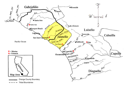 The territorial boundaries of the Southern California Indian tribes based on dialect, including the Cahuilla, Cupeño, Diegueño, Gabrieliño, Juaneño (highlighted), and Luiseño language groups.[20]