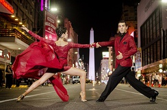 The dance of two Argentine tango street dancers