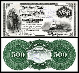 Proof of a three-year $500 1865 compound interest treasury note