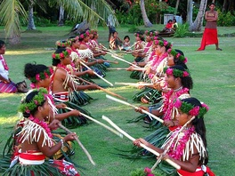 People performing a welcome ceremony on Ulithi atoll.