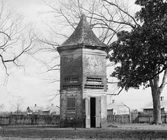 1937 photograph of one of two identical pigeonniers at Uncle Sam Plantation in Convent, Louisiana.  One of the most ornate and complete plantation complexes left at that time, it was bulldozed in 1940 for levee construction.