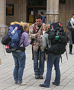 Backpacker tourism in Vienna.