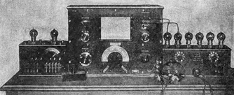 A vacuum tube Abraham-Bloch multivibrator relaxation oscillator, France, 1920 (small box, left).  Its harmonics are being used to calibrate a wavemeter (center).