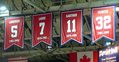 The Capitals honor the retired numbers of Rod Langway, Yvon Labre, Mike Gartner and Dale Hunter with banners in the Capital One Arena.
